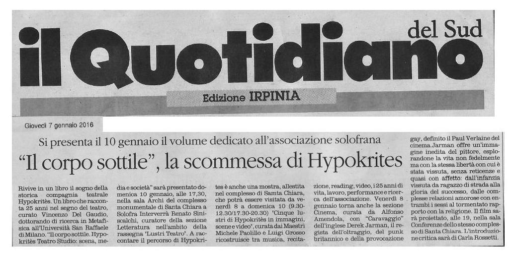 """Si presenta il 10 gennaio il volume dedicato all'associazione solofrana """"Il corpo sottile"""", la scommessa di Hypokritès"""